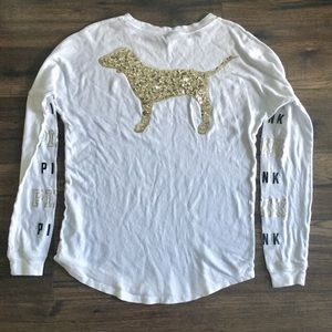 Pink Sparkle White Long Sleeve Size XS